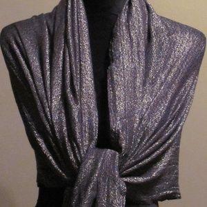 Silver Gray Metallic Shimmer Sheer Shawl Wrap